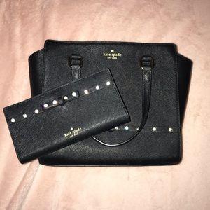 Black Kate Spade Rhinestoned Purse & Wallet